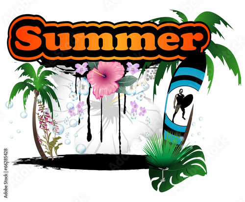 poster of Summer, beach flag and flowers