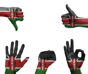 Hand set with the flag of Kenya