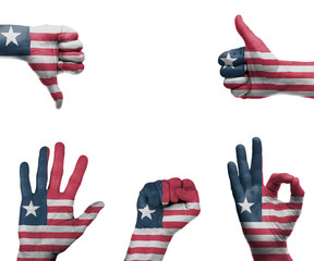 Hand set with the flag of Liberia
