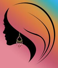 profil de jeune fille à la boucle d'oreille