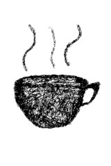 hand draw sketch, a cup of coffee