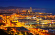 Port Vell and Barcelona cityspace in night