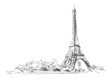 Hand sketch of the Eiffel Tower.  Vector illustration