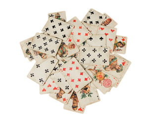 stack of old russian playing card isolated on white background
