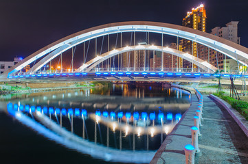 night scene of a beautiful bridge in Kaohsiung, Taiwan