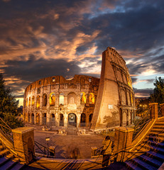 Colosseum during evening time in Rome, Italy