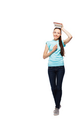 full length portrait of young happy female college student on