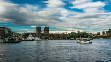 Oslo City Hall and Akershus Embankment, Timelapse Video, Norway