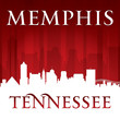 Memphis Tennessee city skyline silhouette red background