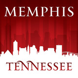 Memphis Tennessee city skyline silhouette red background poster