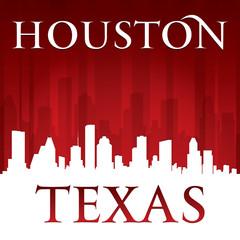 Houston Texas city skyline silhouette red background