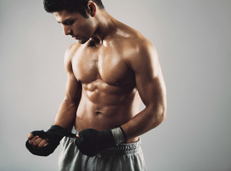 Young boxer preparing for fight