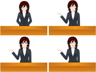ビジネス 受付女性4パターン