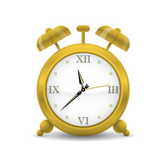 Golden Alarm Clock Vector Illustration