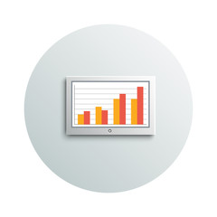 Detailed modern led tv hanging monitor with chart