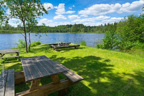 Staande foto Scandinavië Swedish camping place close to the lake