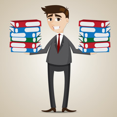 cartoon businessman carrying folders