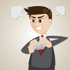 cartoon angry businessman crumpling paper