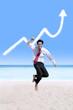 Success businessman and business growing graph cloud