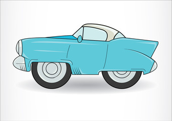 Light blue classic retro car.  on white background
