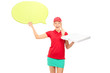 Pizza delivery girl holding a speech bubble