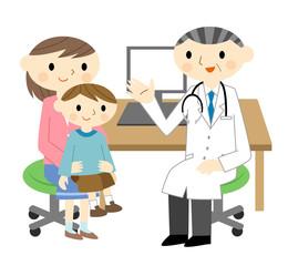 診察を受ける親子