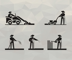 Lawn mower icons. Vector format