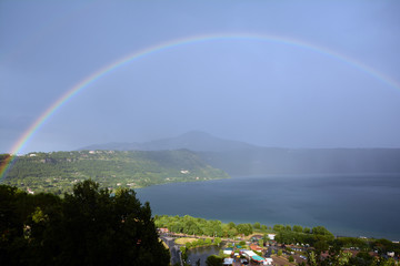 rainbow in the lake