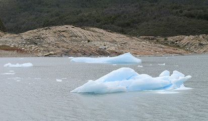 Perito Moreno glacier in Patagonia. Ice blocks