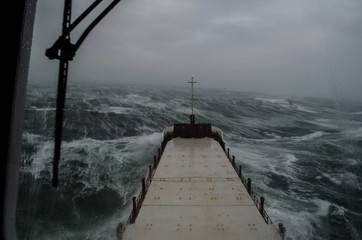 Ship in heavy weather