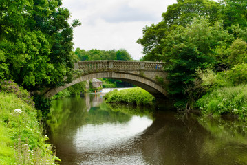Stone bridge over the White Cart Water in Pollok Country Park in