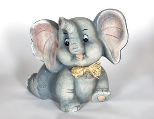 cheerful little gray porcelain elephant