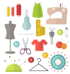 Sewing vector flat set