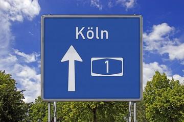 Autobahnschild A1 Köln