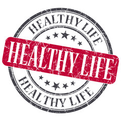 Healthy life red grunge textured vintage isolated stamp