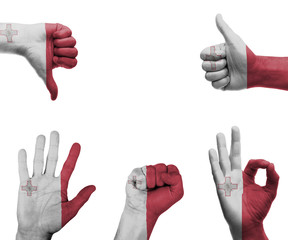 Hand set with the flag of Malta