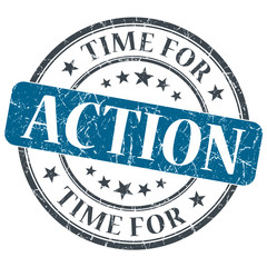Time for action blue grunge textured vintage isolated stamp