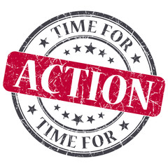 Time for action red grunge textured vintage isolated stamp
