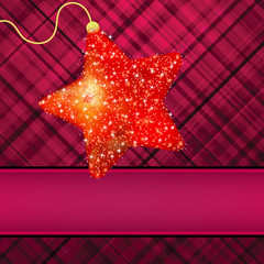 Сhristmas stars on red background. EPS 8