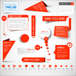 Red infographic timeline elements / template