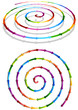 Vector format of connected colorful spiral arrows