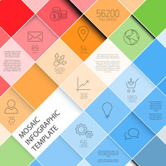 Vector mosaic infographic template - pastel colors