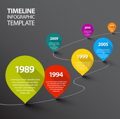 Infographic dark Timeline Template with pointers
