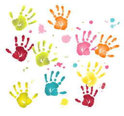 Vector format of colorful flat hands imprints and paint blots