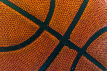 old used basketball close up