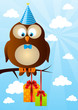 Birthday owl on sky background