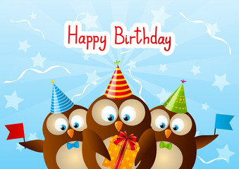 Cute Birthday owls for Your design