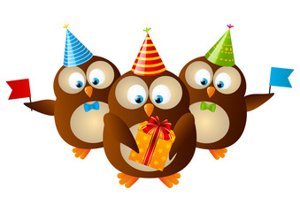 Cute Birthday owls isolated on white