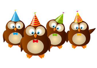 Funny owls isolated on white