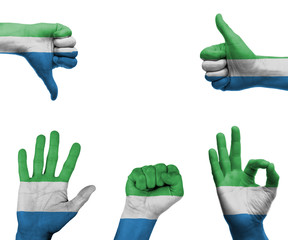 Hand set with the flag of Sierra Leone